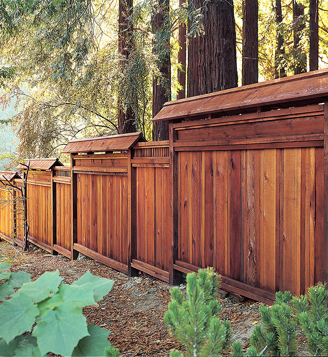 Redwood Louvered Fence