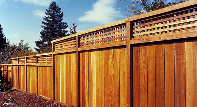 Redwood B Grade Fence with Square Lattice-top