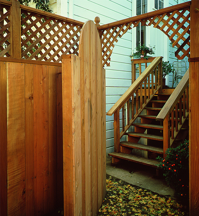 Lattice-top Redwood Fence and Gate