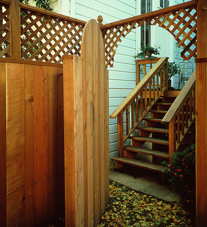 Redwood Lattice Top Fence and Gate